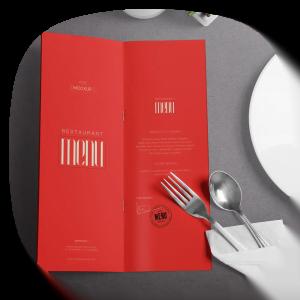 طراحی لوکس منو رستوران صحافی منگنه